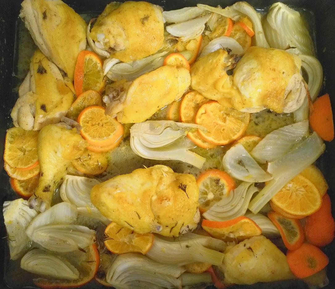 Hähnchen mit Clementinen in Ouzo